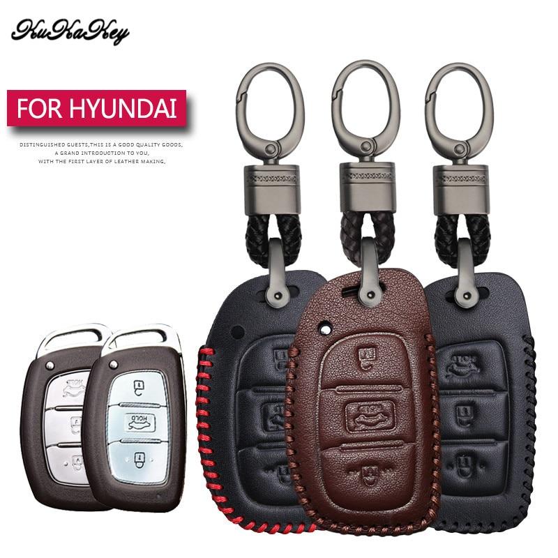 Leather Car Key Case Cover Protection Shell Skin For Hyundai IX20 I30 IX35 I40 Ix25 Tucson Verna Sonata Car Keyring Keychain