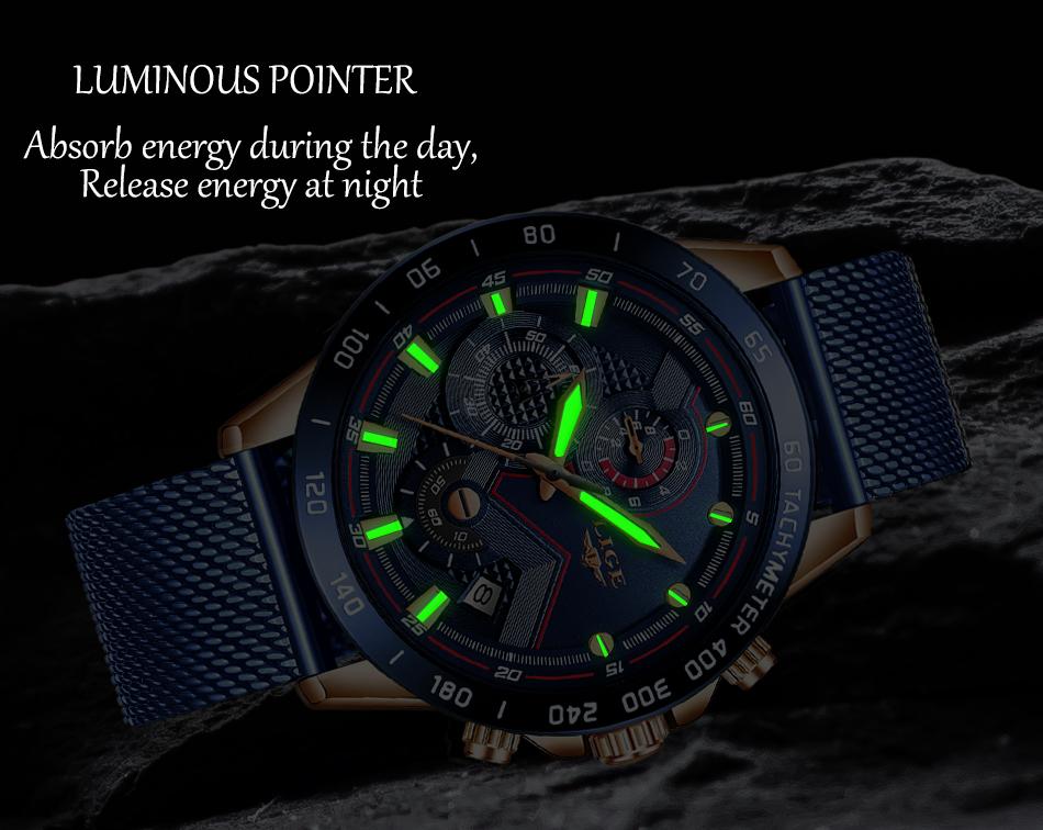 LIGE azul Casual malla Correa moda cuarzo oro reloj para hombre relojes marca superior reloj impermeable de lujo 9