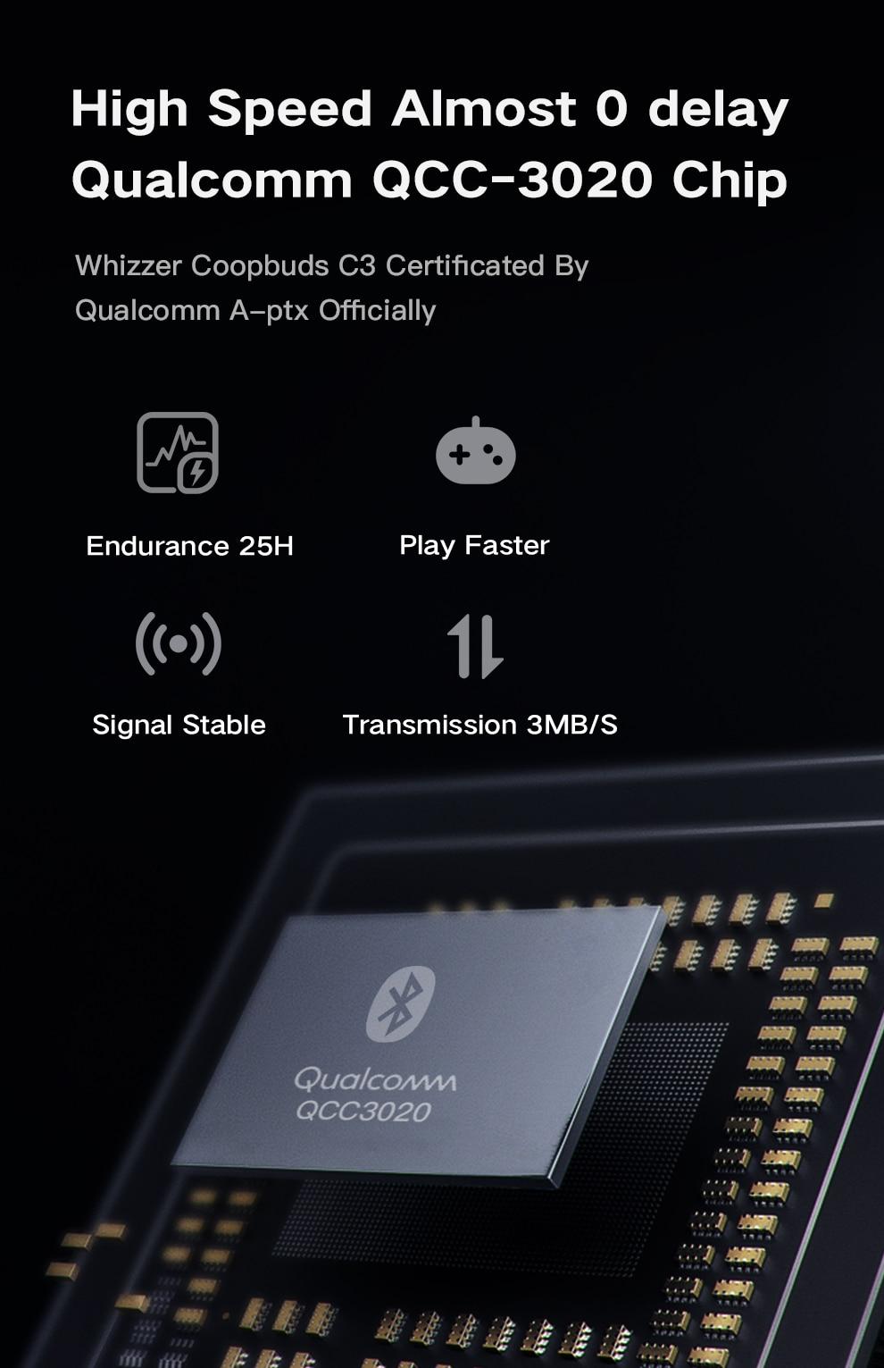 Whizzer C3 APTX TWS Wireless Earbuds 4