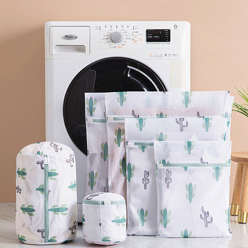 2019 Cactus Printing Zippered Laundry Bags Household Socks Underwear Bra Washing Bag High Quality Polyester Mesh Laundry Baskets