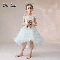Light Blue High Low Birthday Dresses For Toddler Elegant Boat Neck Off The Shoulder Appliques Flower Girl Dresses For Wedding