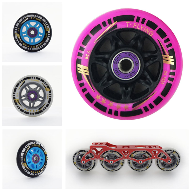 8 Pieces 84mm Inline Skates Wheels For Speed Skating Roller Skate Tyre For CITYRUN PS 84A 84 Rodas ILQ-11 608 Bearing Spacer
