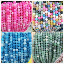 Natural Stone Colorful Agates Glass Round Loose Beads 4 6 8 10 12 MM Pick Size For Jewelry Making DIY Bracelet Necklace Material(China)