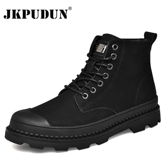 Black Warm Winter Men Boots Genuine Leather Ankle Boots Men Winter Work Shoes Men Military Fur Snow Boots for Men Botas JKPUDUN 1