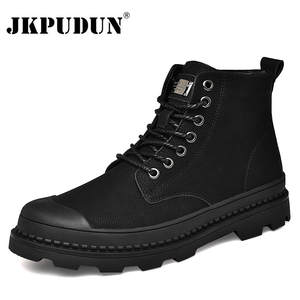 Winter Men Boots Work-Shoes Military-Fur Black Genuine-Leather Ankle JKPUDUN for Warm