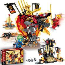 Новинка, набор строительных блоков Legoinglys Ninjagoes Fire Fang Spinjitzu, кубики, Классическая модель ниндзя из фильма, детские игрушки