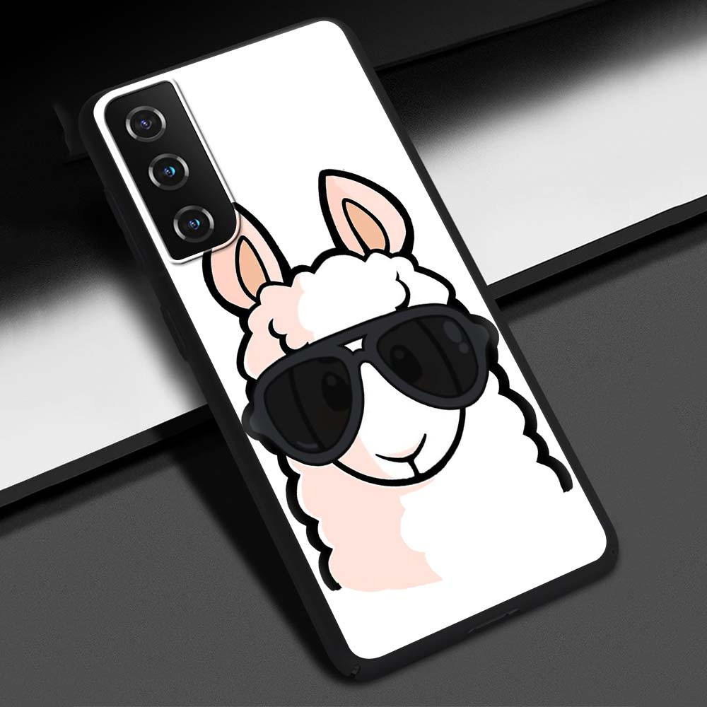 Phone Case For Samsung Galaxy S20 FE S10 Plus S21 Ultra S10e S8 S9 Plus Soft Silicone Black Cover Llama Alpaca Cute Animal