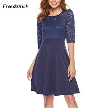 Free Ostrich Elegant Dress Women Vintage Sexy Lace Cocktail Swing 3/4 Sleeves Party Dress vestidos Lady Hollow Out Summer Dress(China)