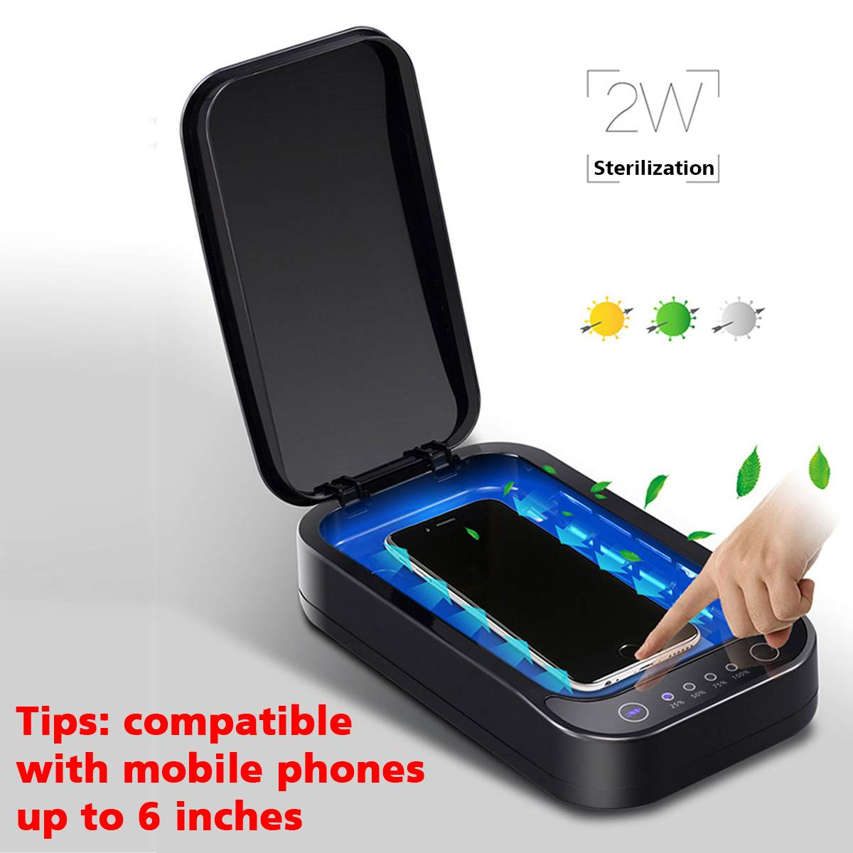 UV Disinfection Box Sanitizer Charger Prevent Flu For IPhone/Samsung Mobile Phone Headphones Mask Sterilizer Kill 99.9% Viruses
