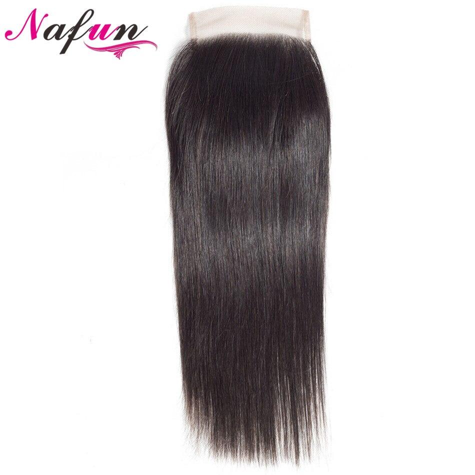 NAFUN Hair Straight Lace Closure Non Remy Human Hair Closure Middle/Free/Three Part Swiss Lace Natural Color Malaysian Hair