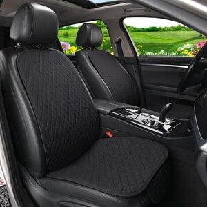 Image 2 - Vlas Auto Seat Cover Protector Met Rugleuning Voor Achter Seat Terug Taille Wasbaar Kussen Pad Mat Voor Auto Universal Fit meest Auto
