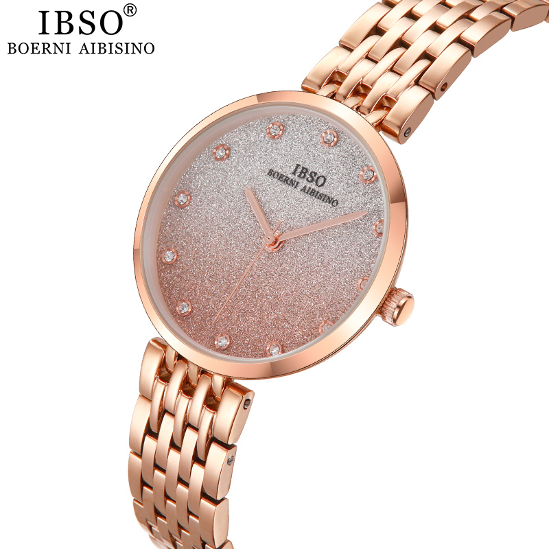 IBSO Brand Women's Rhinestone Quartz Watches Set Luxury Round Dial Rose Gold Watch For Ladies Stainless Steel Clock Montre Femme