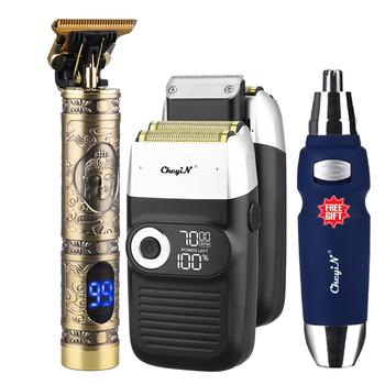 3 w 1 elektryczna maszynka do golenia golarka tłokowa trymer do nosa broda wyświetlacz LCD akumulator maszynka do włosów maszynka do golenia tanie i dobre opinie CkeyiN CN (pochodzenie) 3 IN 1 trymer do włosów RS021B+RC478+RC461H
