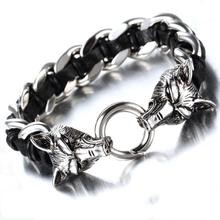 Granny Chic New punk jewelry stainless steel double wolf head buckle Genuine Leather braided mens bracelet