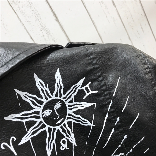Hac08e9f637844fd3baa92b717dbd2903U 2021 New Autumn Women Winter Faux Soft Leather Jackets Coats Lady Black PU Rivet Zipper Epaulet 3D print Motorcycle Streetwear