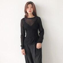 купить lace silk top 2019 autumn new casual long-sleeved shirt T-shirt + knit sling top two-piece по цене 956.78 рублей