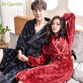 Winter Flannel Robes Couple Bathrobe Thick Jujube Red and Black Teddy Style Turn-down Collar Long Sleeves Home Clothes Sleepwear