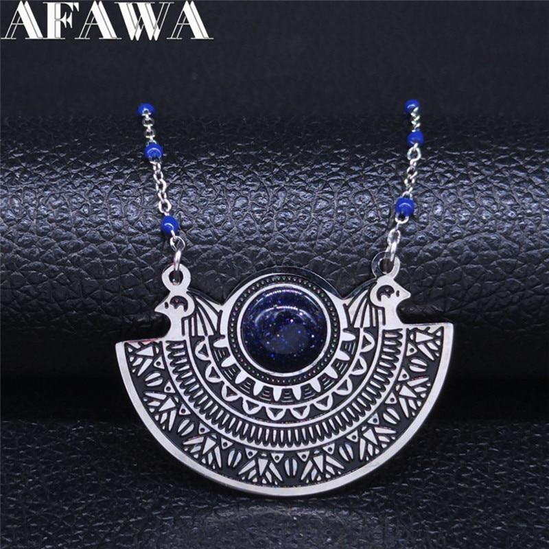 AFAWA Phoenix Vogel Edelstahl Halskette Frauen Blau Farbe Natürliche Stein Aussage Halskette Schmuck kragen mujer N3312S02