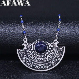 AFAWA Phoenix Bird Stainless Steel Necklace Women Blue Color Natural Stone Statement Necklace Jewelry collar mujer N3312S02