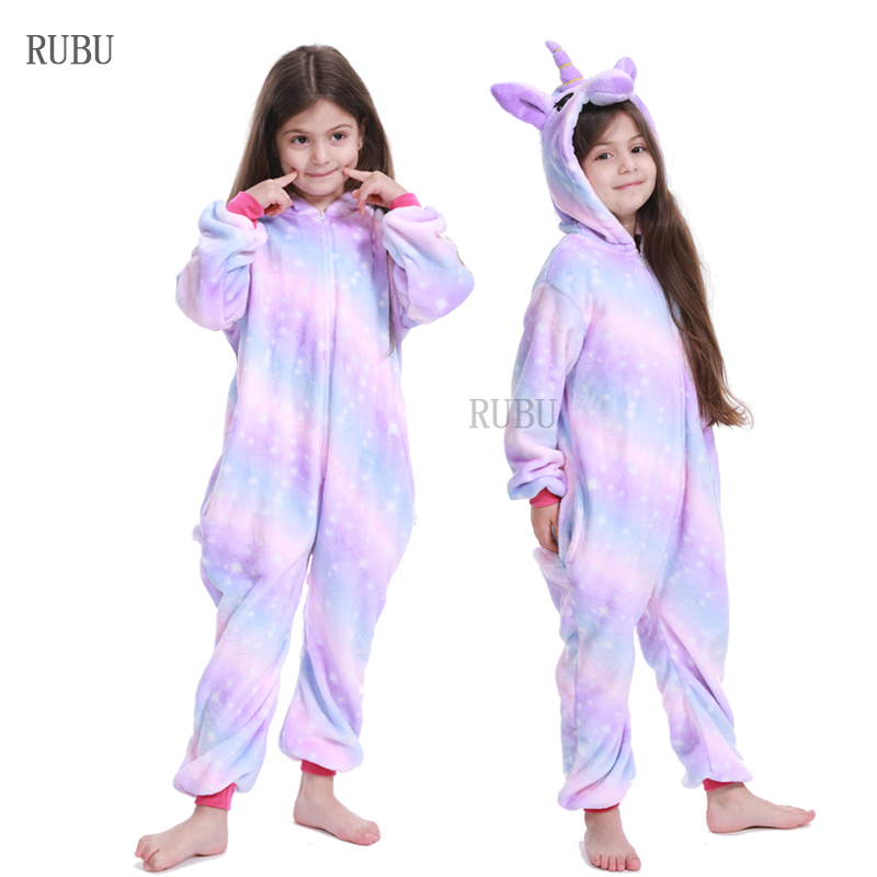 New Kigurumi Children Winter Sleepwear Kids Unicorn Panda Pajamas Baby Girls Boys Licorne Stitch Onesies For 4 6 8 10 12 Years