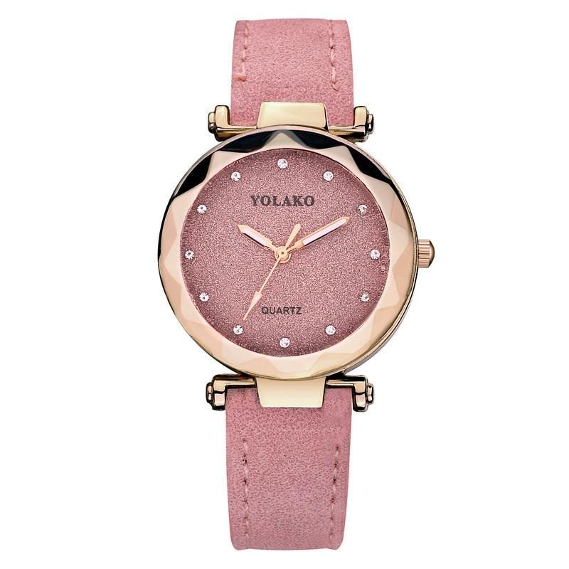 YOLAKO Brand Women Romantic Starry Sky Women Watches Wrist Watch Leather Rhinestone Designer Ladies Watches часы женские
