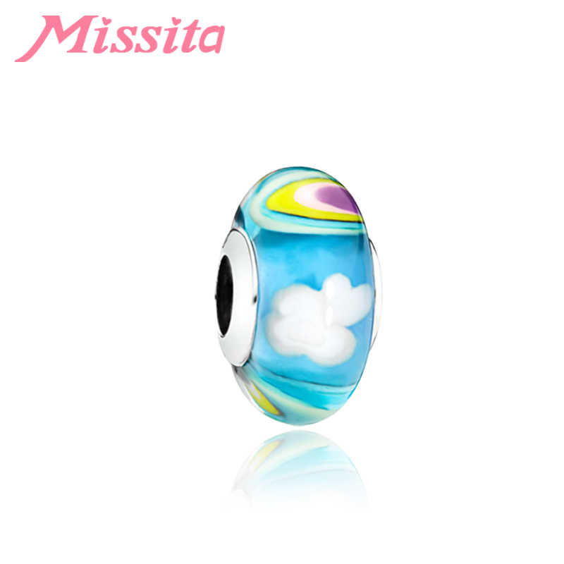 MISSITA 2019 New Fashion Colorful Sky European Murano Glass Beads Charms for DIY Bracelets fit Women Bracelets Accessories