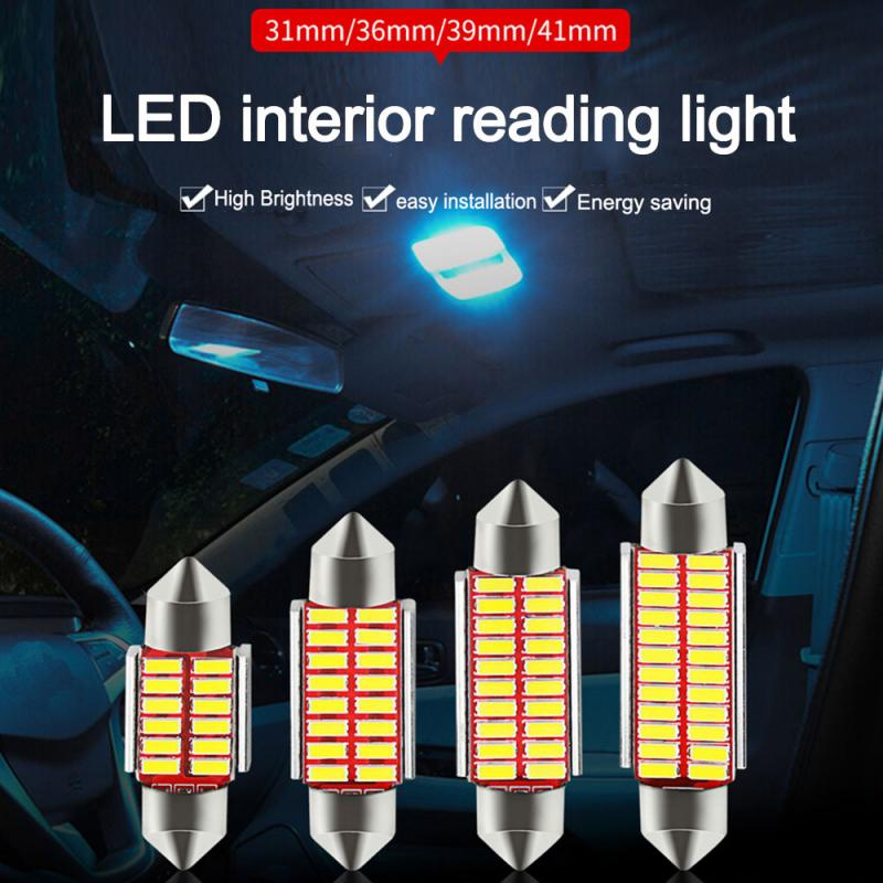 5 светодиодный т. C10W C5W 4014 LED Canbus Festoon 31 мм 36 мм 39 мм 42 мм для автомобиля, лампа для внутреннего освесветильник, лампа для чтения номерного знака,...