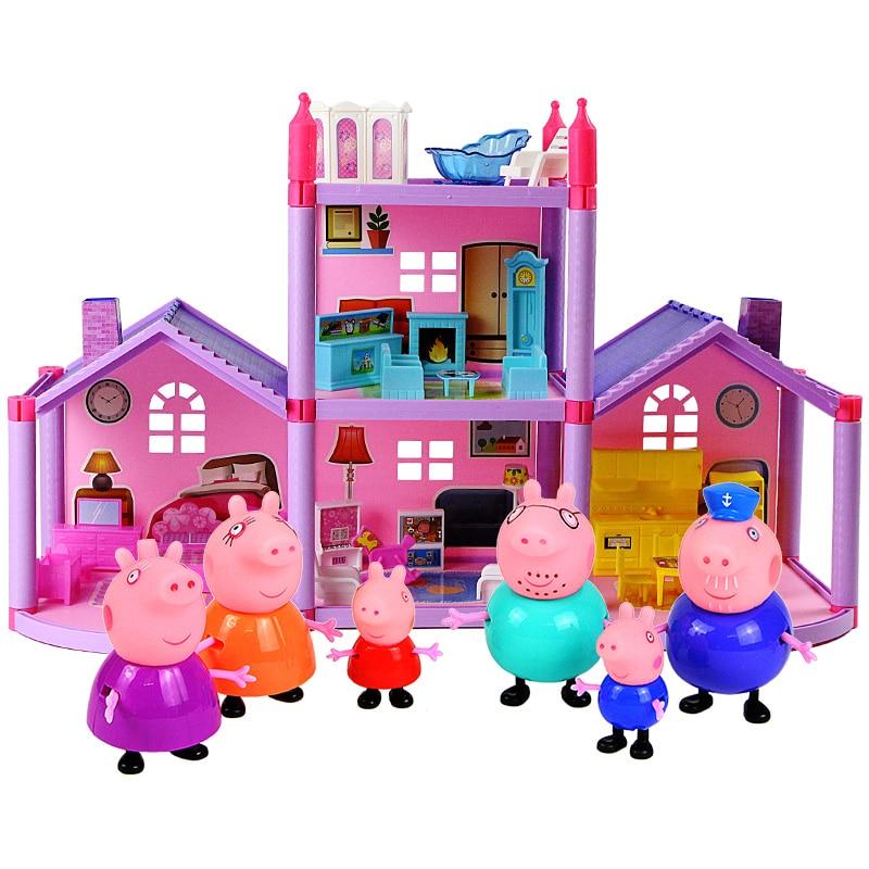 Peppa Pig Toys House George Pepa Pig Figuras Friend Family Action Figure Anime Toys Peppa Pig Birthday Decoration Gift Set