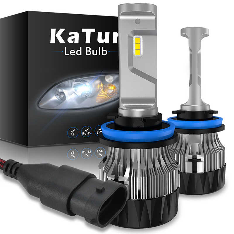 Katur H8 H9 H11 H16 LED Car Headlight 6000K White Light Auto Fog Lamp H1 H3 H4 9005 9006 9012 HB3 HB4 H1R2 Super Bright Led Bulb