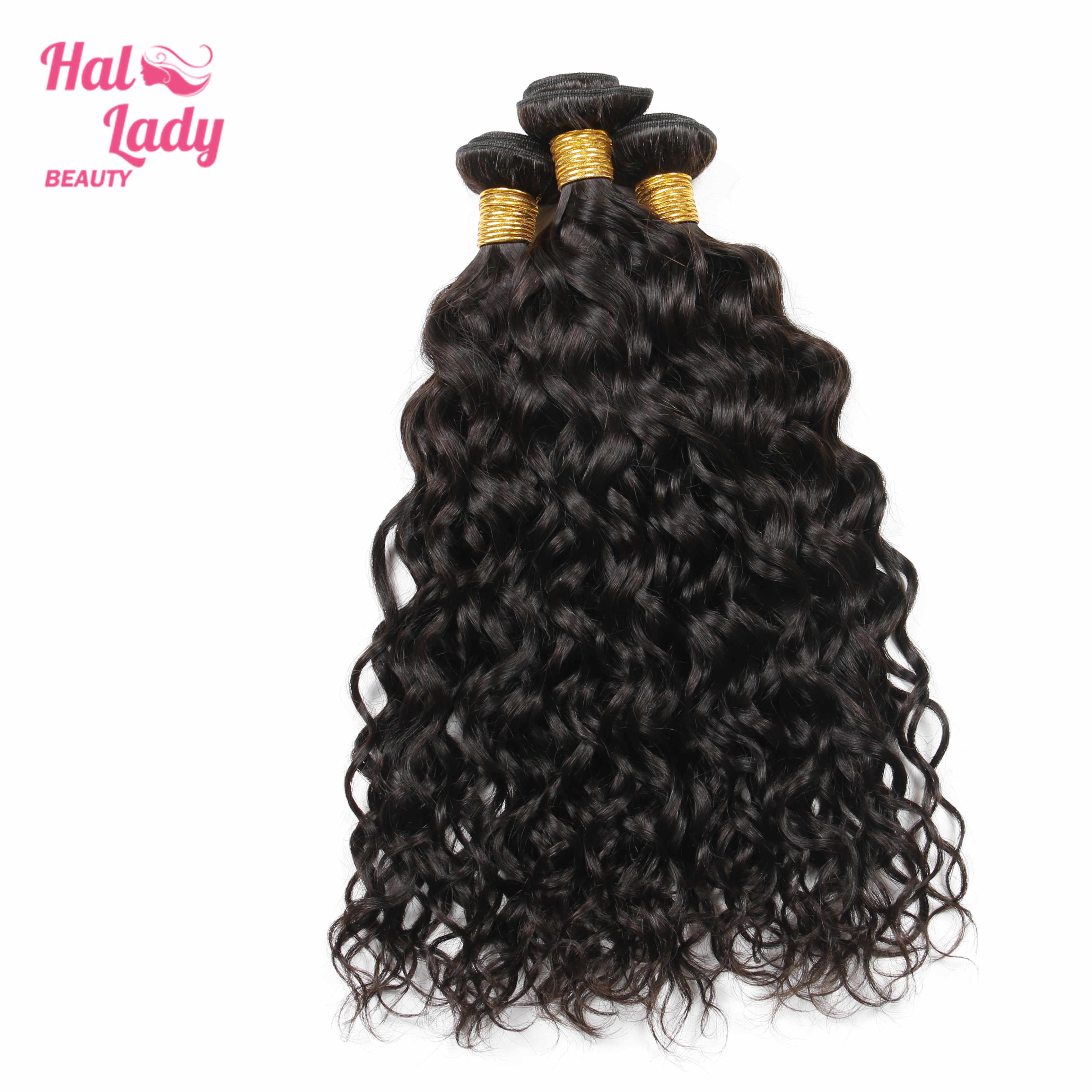 Halo Lady güzellik brezilyalı doğal su dalgalı saç örgüleri 22 24 26 inç insan saçı postiş 1 Bundle sadece olmayan Remy