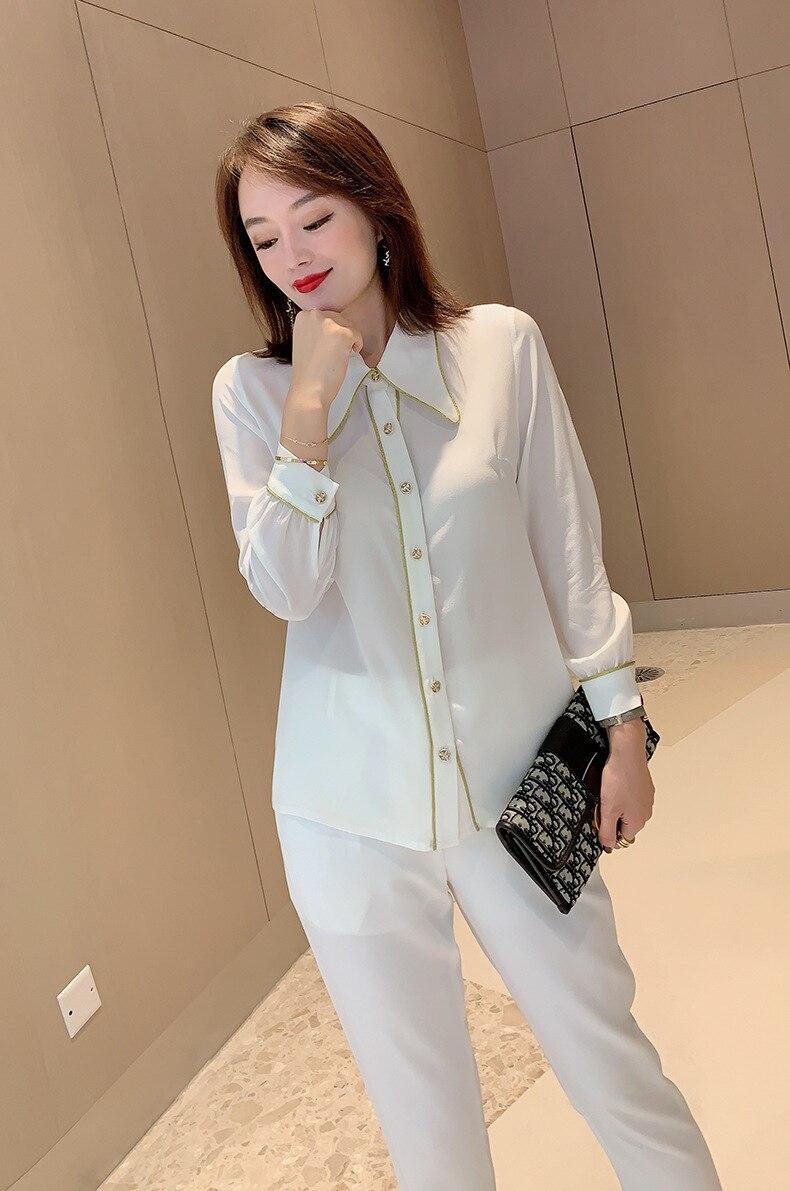 Chemise en soie femmes 2019 automne dames mode couleur unie col rabattu simple boutonnage poignet longueur manches chemise blanche S XXL - 2