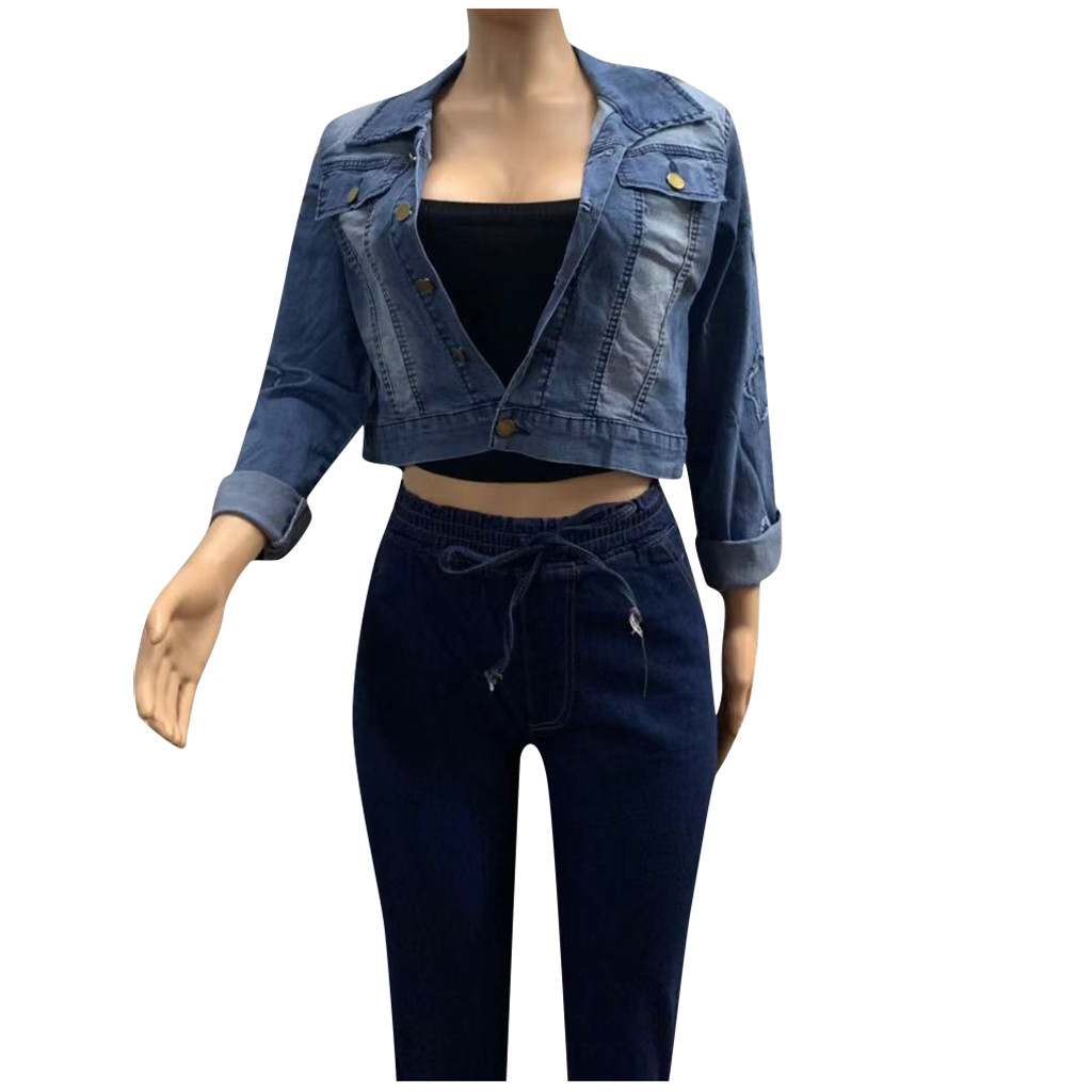 Hac0970746e814a0fa94d15f1eaeb1bf2X 2019 Autumn And Winter Women Denim Jacket Vintage Cropped Short Denim Coat Long-sleeve Slim Jeans Coat For Women#J30
