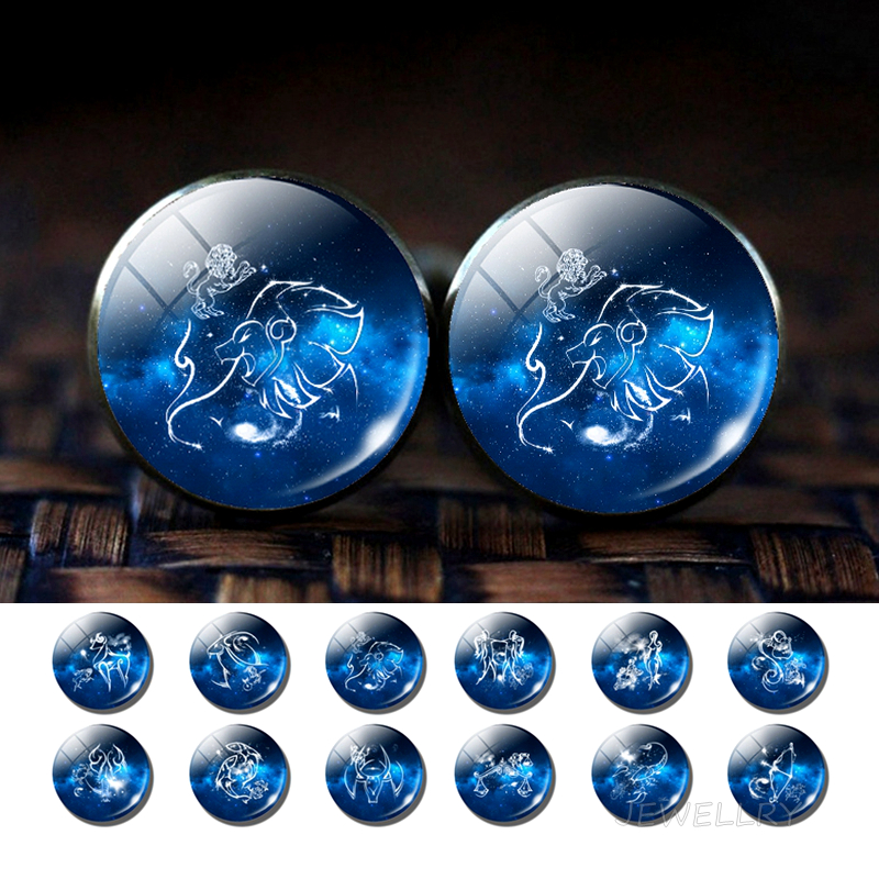 12 Constellations Glass Alloy Cufflinks Zodiac Signs Silver Suit Cuff Links Men Shirt Accessories Destiny Jewelry Birthday Gift