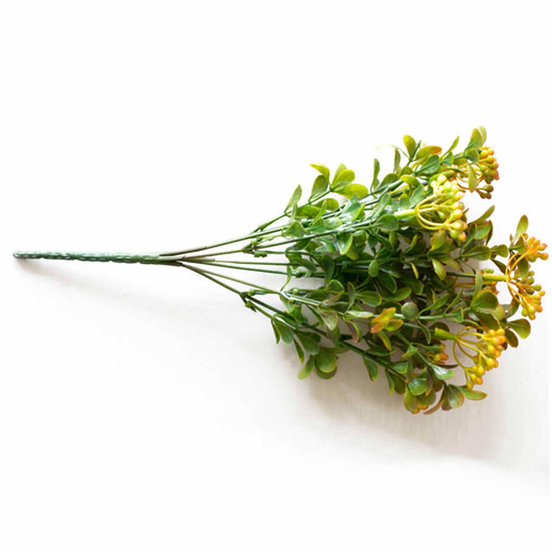 Baies artificielles 7 branches bouquet vert de fleurs artificielles plantes fruitières Mini feuille décoration de mariage en plein air