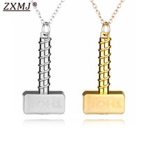 ZXMJ The Avengers Thor Hammer Necklaces Pendants Vintage for Men women Silver Gold 2 colors Necklace Punk Thor Fingertip Gyro(China)