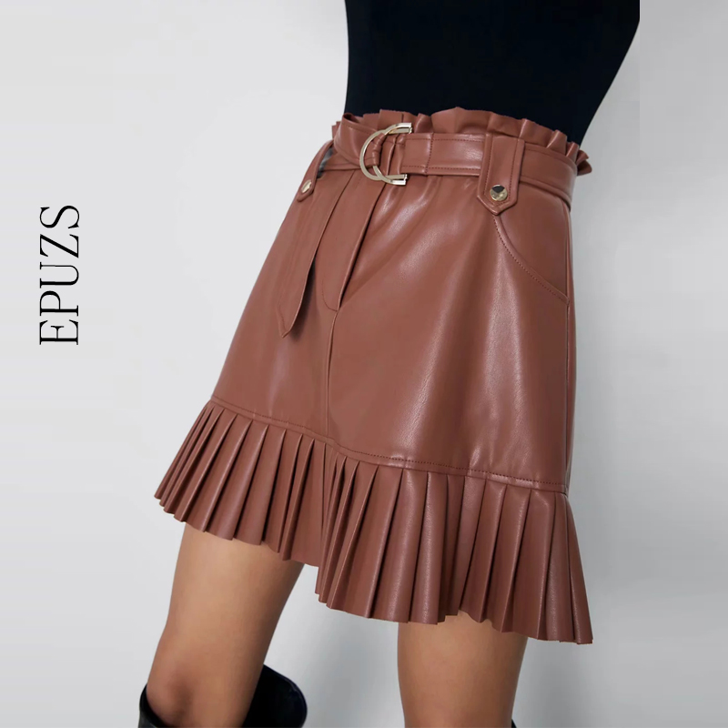 Stylish Chic Pu Leather Mini Skirt With Belt Za Fashion Women High Waist Pleated Skirts Womens Casual Streetwear Party Faldas