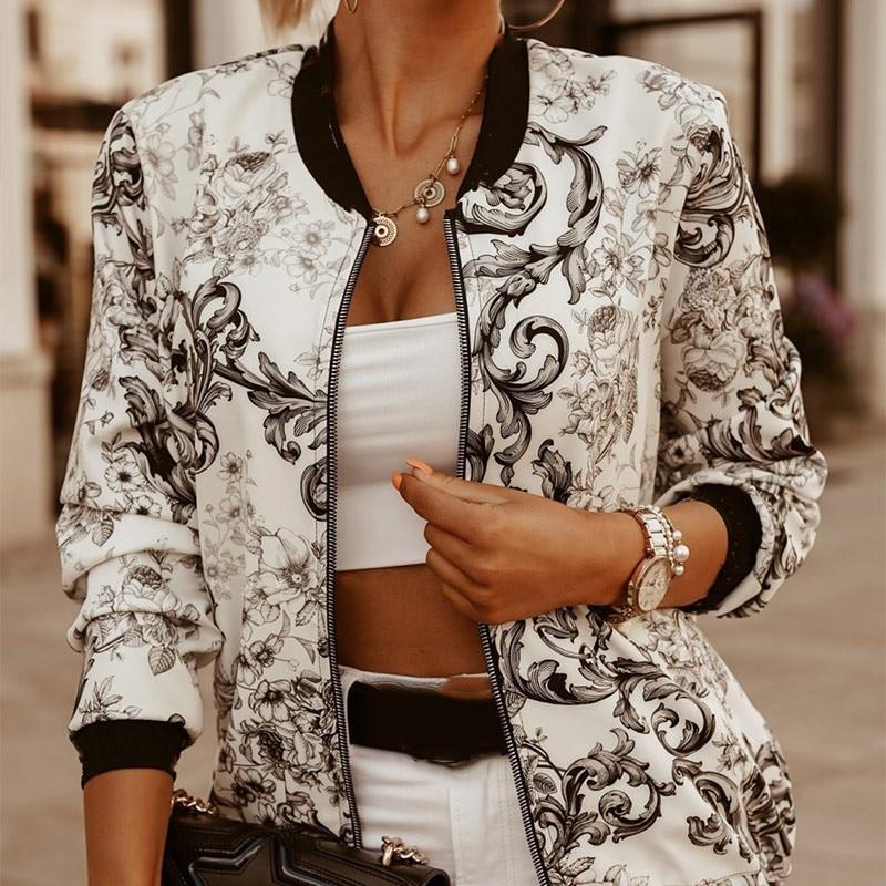 Женская куртка на молнии с цветочным принтом и длинным рукавом, Повседневная приталенная куртка бомбер с воротником стойкой, осенняя короткая женская верхняя одежда|Куртки|   | АлиЭкспресс