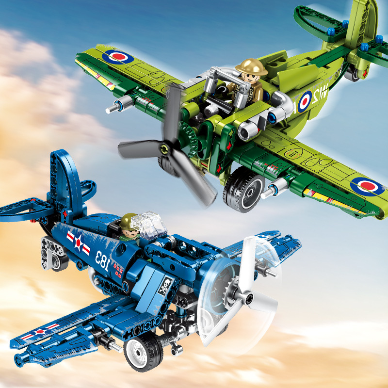 Sembo 812 PCS American F4U Fighters British Foo Fighters Wars Building Block Bricks Toy Kid Birthday Gift For 6-10 Years Boys image
