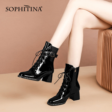 Black Shoes Ankle-Boots SOPHITINA Thick Heel Zipper Women SO696 Lace-Up Round-Toe Office