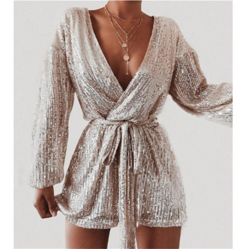 Goocheer 2019 Elegant Party Rompers Female Sexy V-neck Sequins Overalls Long Sleeve Club Short Jumpsuit Women Sexy Mini Playsuit