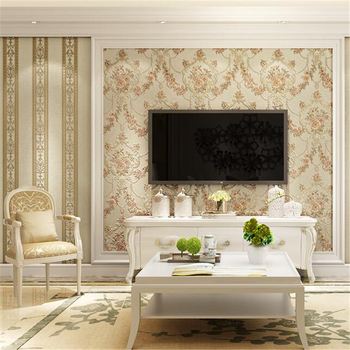WELLYU Stereo Europea-style garden flowers vertical stripes AB version of papel de parede wallpaper living room background