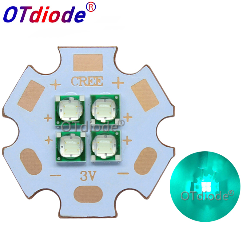 10W-12W Epileds 3535 Cyan Color 495-500nm 4Chips 4LEDs Multi-Chip 3V6V12V High Power LED Emitter Diode With 20mm Copper PCB