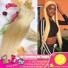 Ali queen pacote loiro 10a 613 de vison brasileiro, unprocessado virgin one-donor humano jovem menina reta 1/3/4 extensão de cabelo