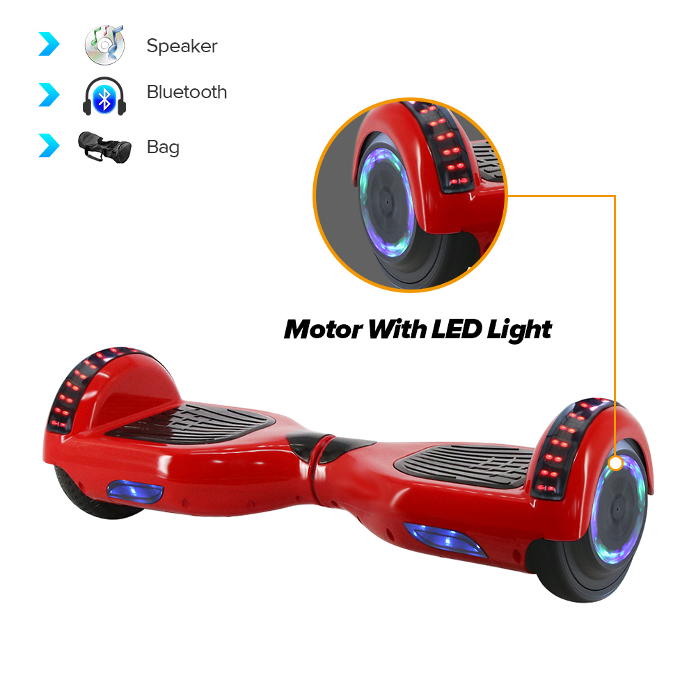 6.5 Inch Gyroscooter Hoverboard with CE Two Wheels Self Balancing Smart Electric Wheel light Bluetooth Skateboard With Bag