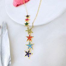gold color long lariat chain rainbow star cz link chain sparking star charm pendant Y women sexy fashion Fine jewelry necklace(China)