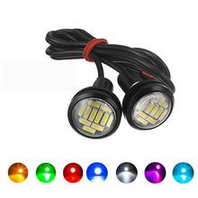 2 sztuk oczy orła LED 23mm 4014 12SMD samochodów jazdy dziennej Backup włącz światła sygnalizacyjne Auto światła tablicy rejestracyjnej biały tanie tanio CN (pochodzenie) Do światła dziennego Brak 12 v WHITE Uniwersalny eagle eye led 23mm 4014 12smd 23mm eagle eye led lights