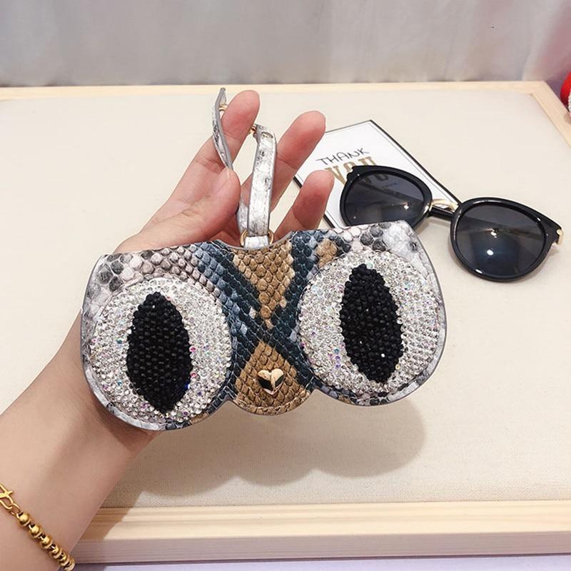 KPAY Popular Cartoon Multi-function Eyeglasses Case Diamond Glasses Case Leather Glasses Bag Women Sunglasses Storage Case