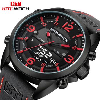 Electronic Military Watches Dive 50M Leather Strap LED Watches Men Top Brand Luxury Quartz Watch reloj hombre Relogio Masculino image