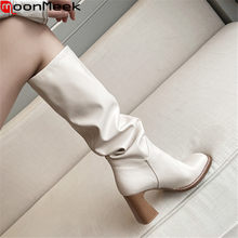 MoonMeek 2020 Neue kommen heißer verkauf winter kniehohe stiefel für frau fashion square toe high heels damen schuhe solide frauen stiefel(China)