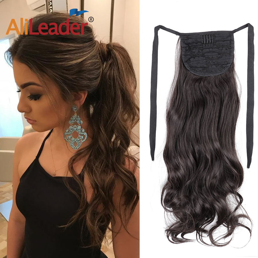 Alileader Straight Ponytails Drawstring Sleek Ponytail Synthetic Pony Tail Hairs Clip On Hair Tail Extensions Heat Resistant